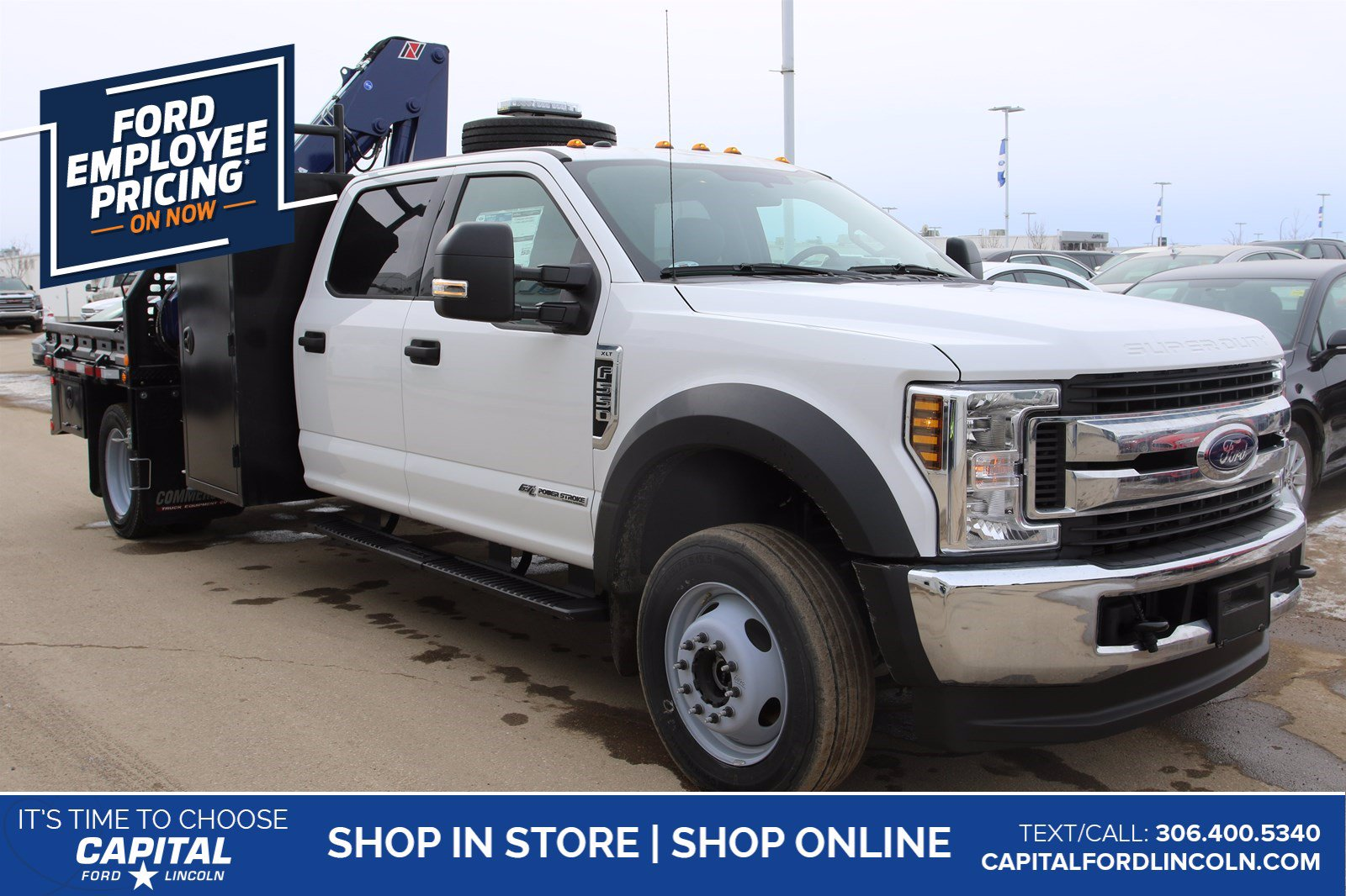 New 2019 Ford F-550 Crew XLT with Deck and Amco Veba Crane